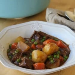 Beef stew in a white bowl