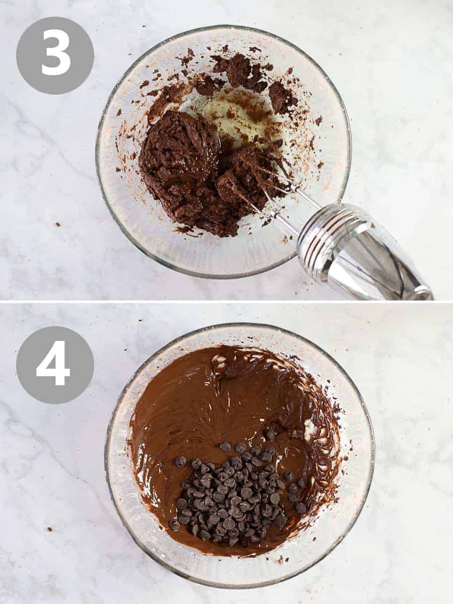 adding wet ingredients to flourless chocolate cookie dough