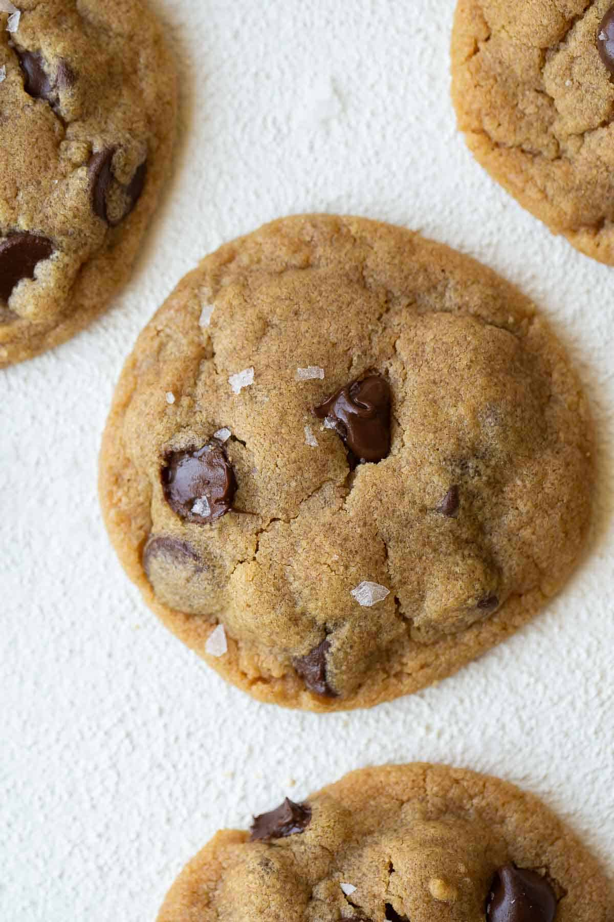 final shot of one cookie on white background