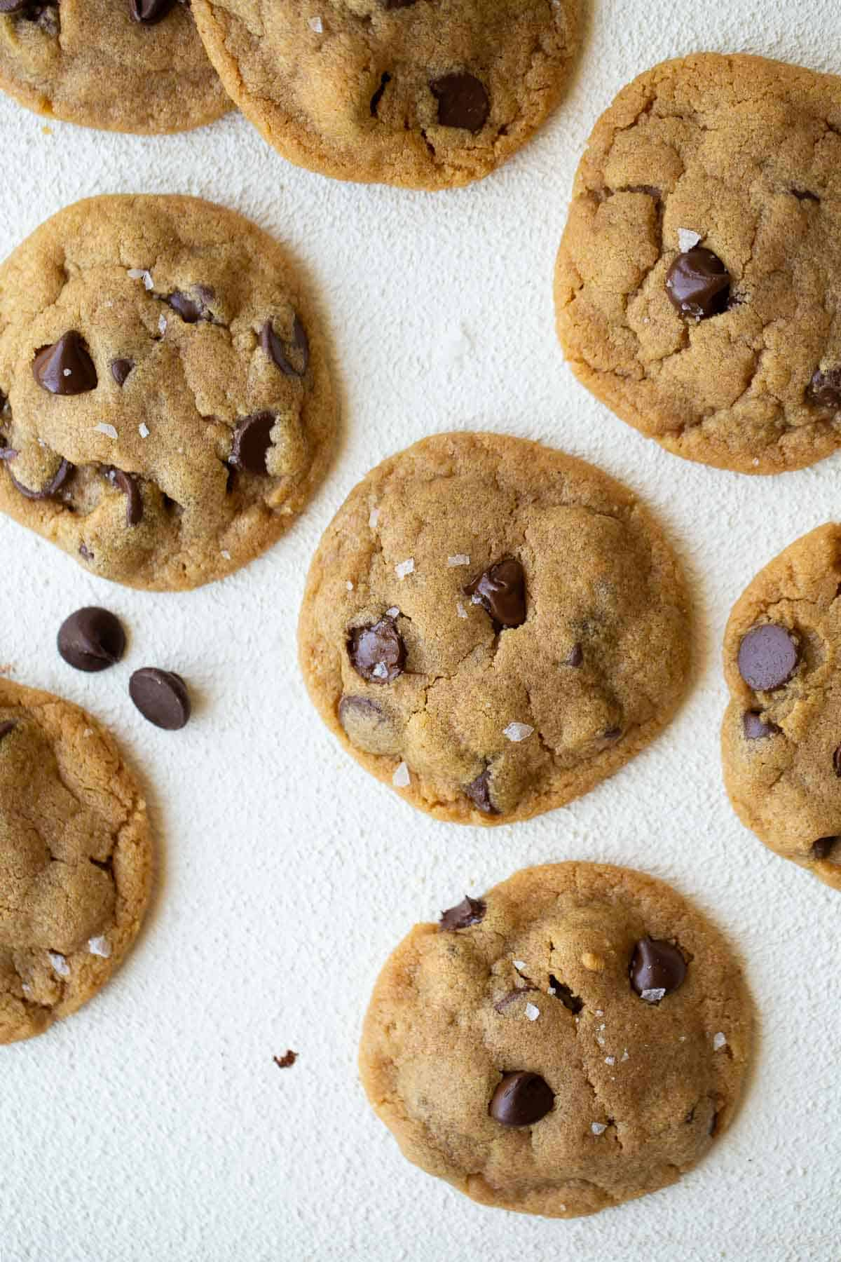 overhead shot of peanut butter chocolate chip cookies