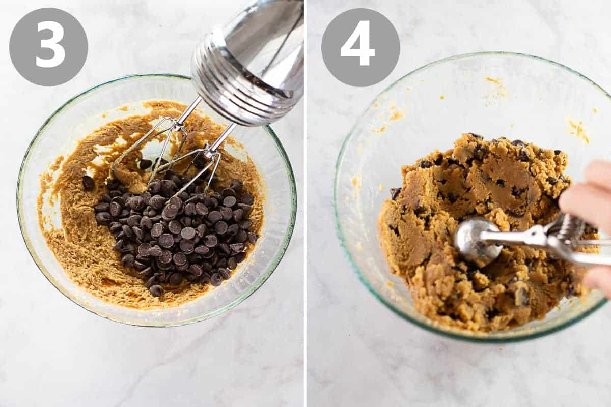 cookie dough being mixed with chocolate chips then scooped