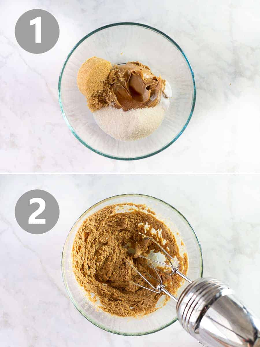 how to mix together the ingredients for peanut butter cookies