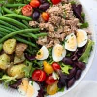 nicoise salad on white plate