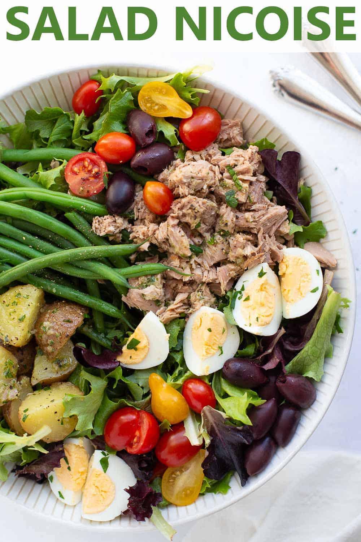 close up overhead shot of salad nicoise