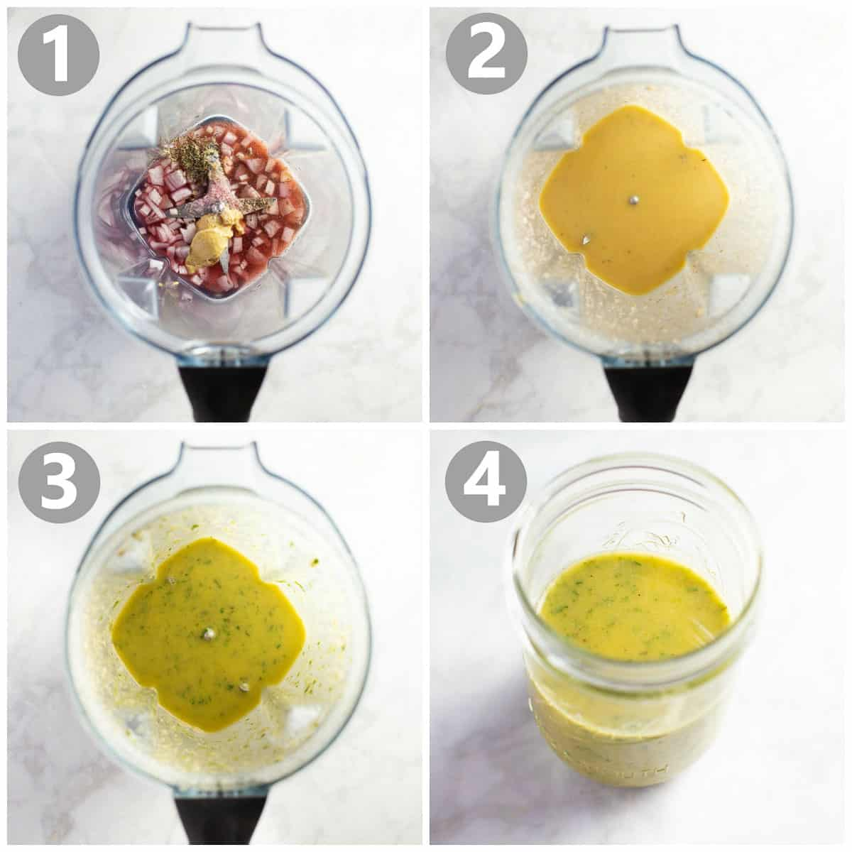 Step-by-step instructions on making a herb vinaigrette.