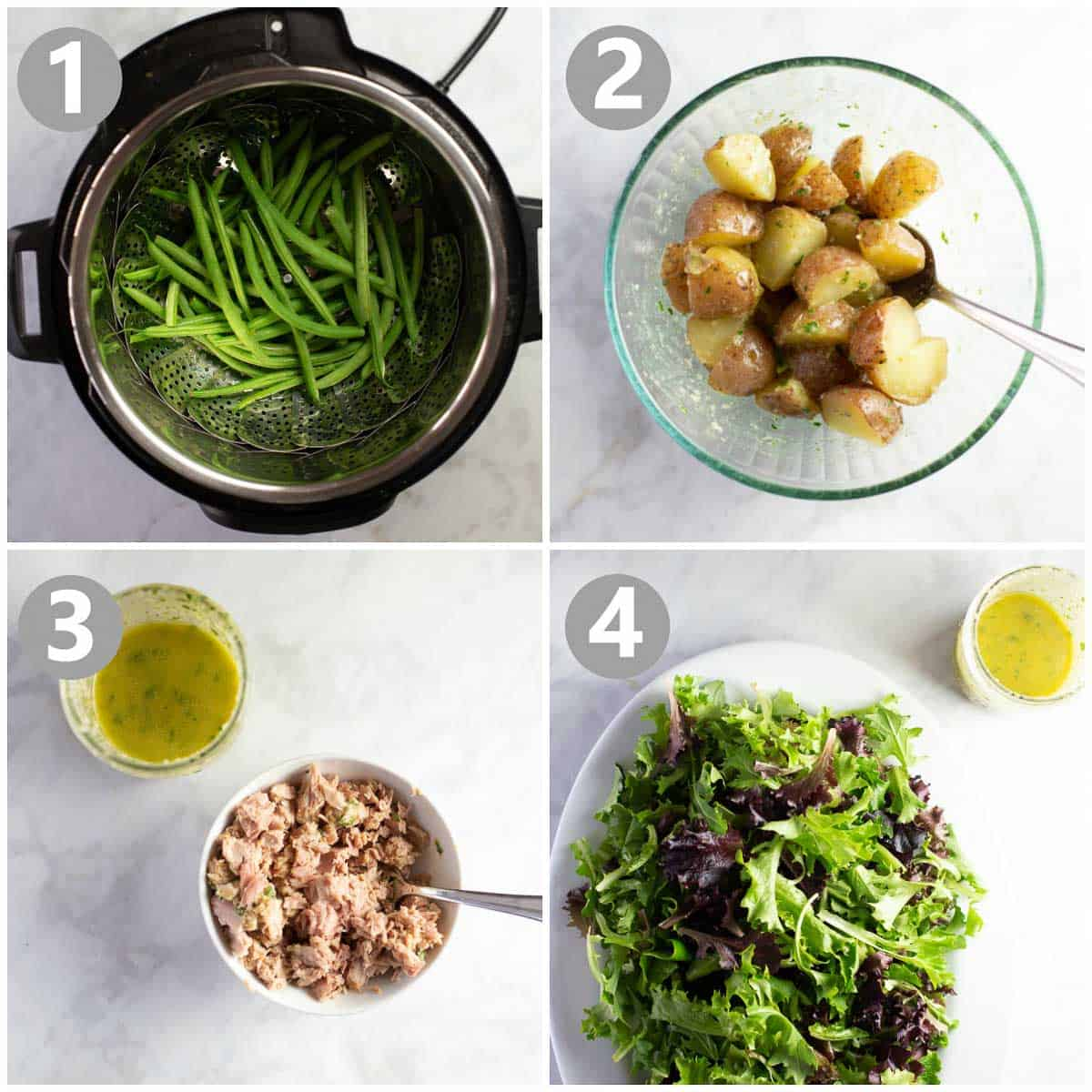 Step-by-step instructions on how to make a salad nicoise