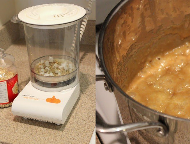 Two images one of a popcorn maker machine another of melted caramel