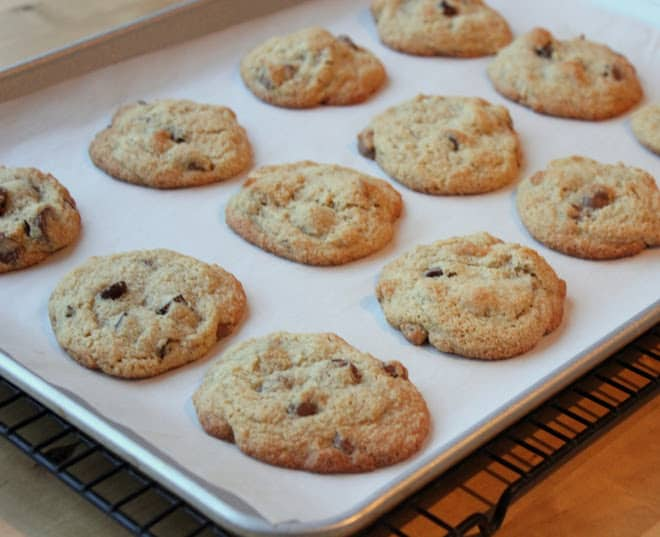 Almond flour chocolate chip cookies on baking sheet lined with parchment paper