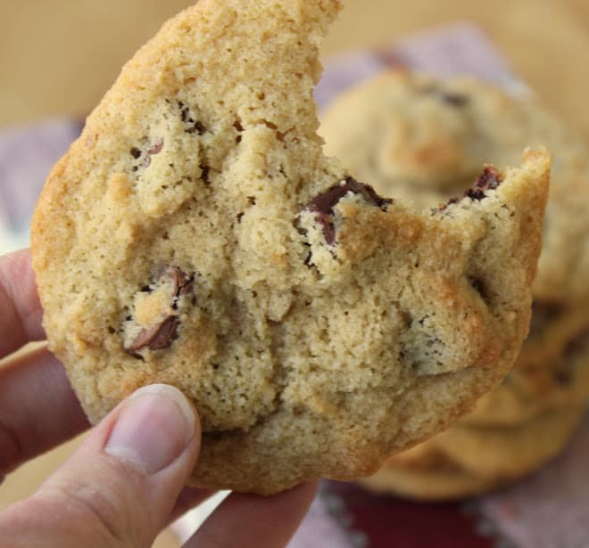 close up shot of almond flour chocolate chip cookie