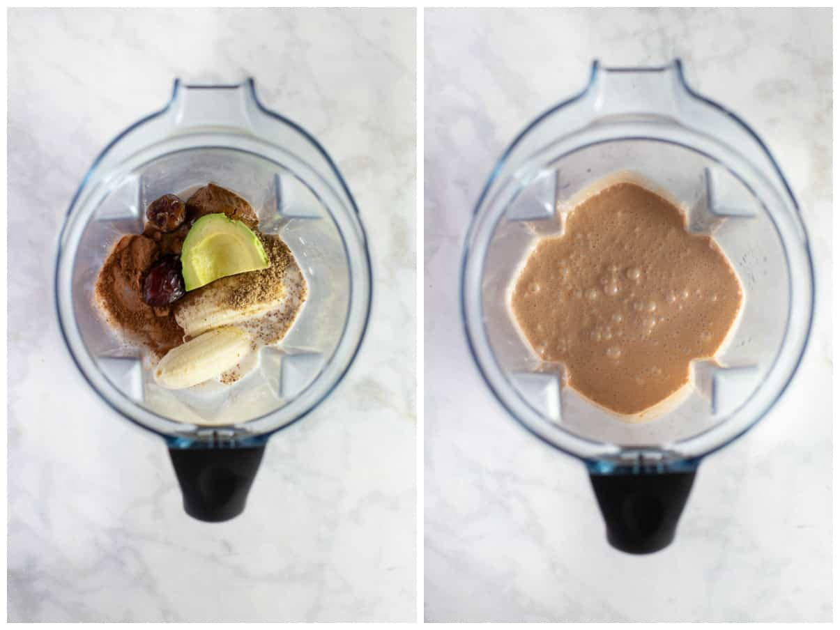 ingredients in blender to make a chocolate green smoothie