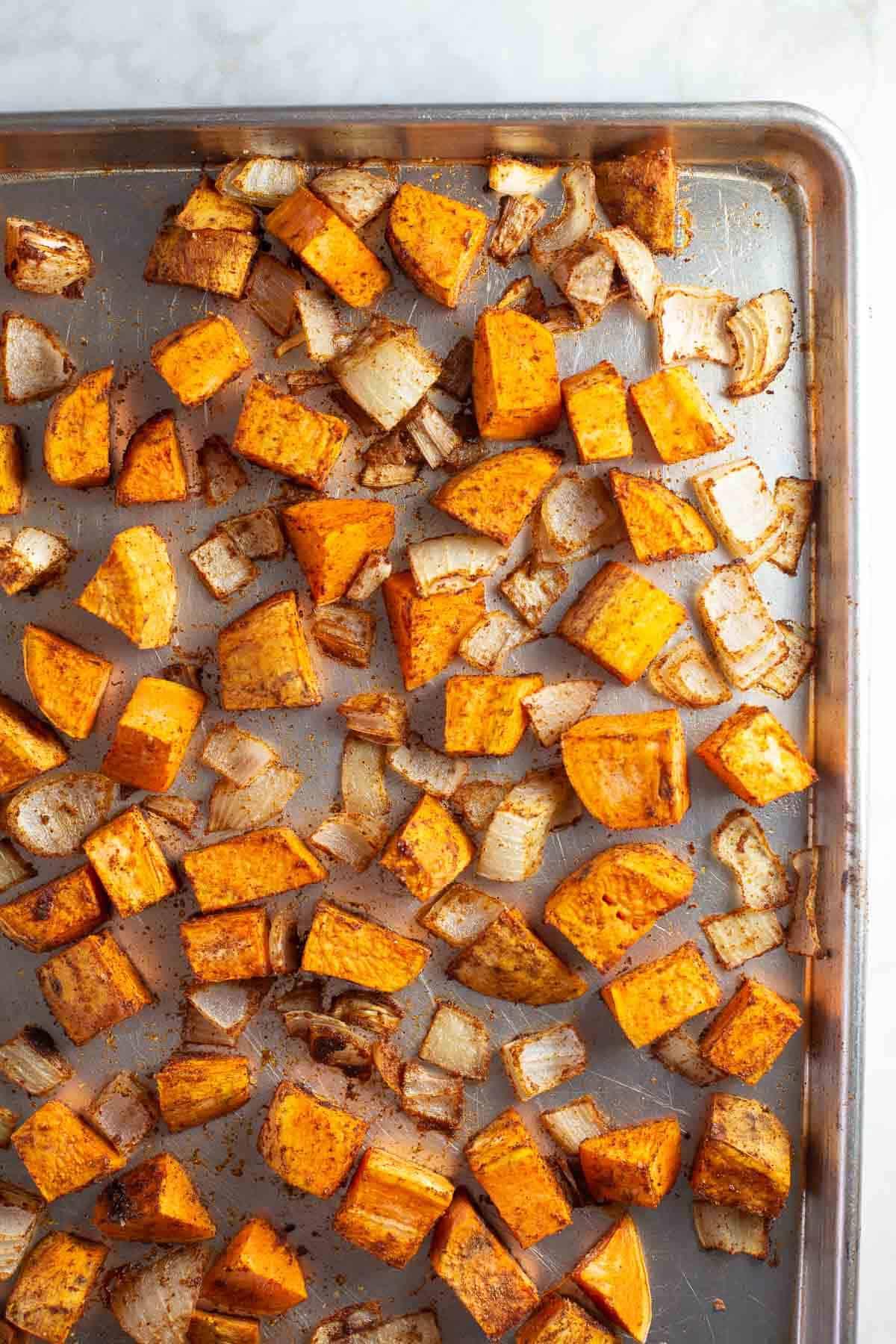 pan of roasted sweet potatoes