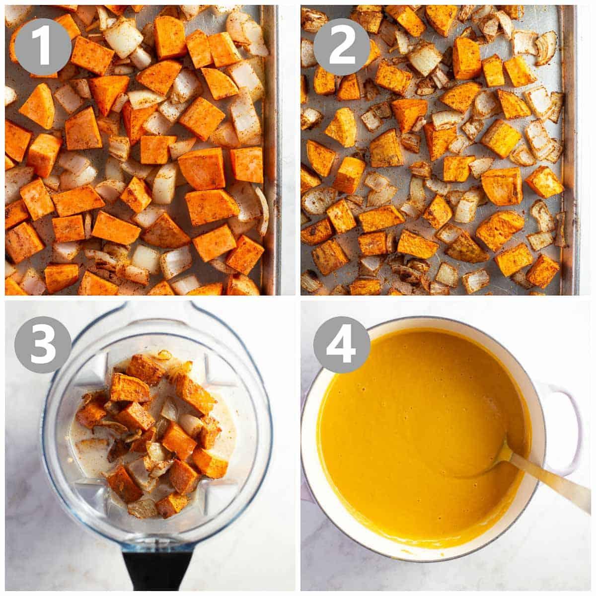 photo collage shows steps to make a sweet potato soup recipe