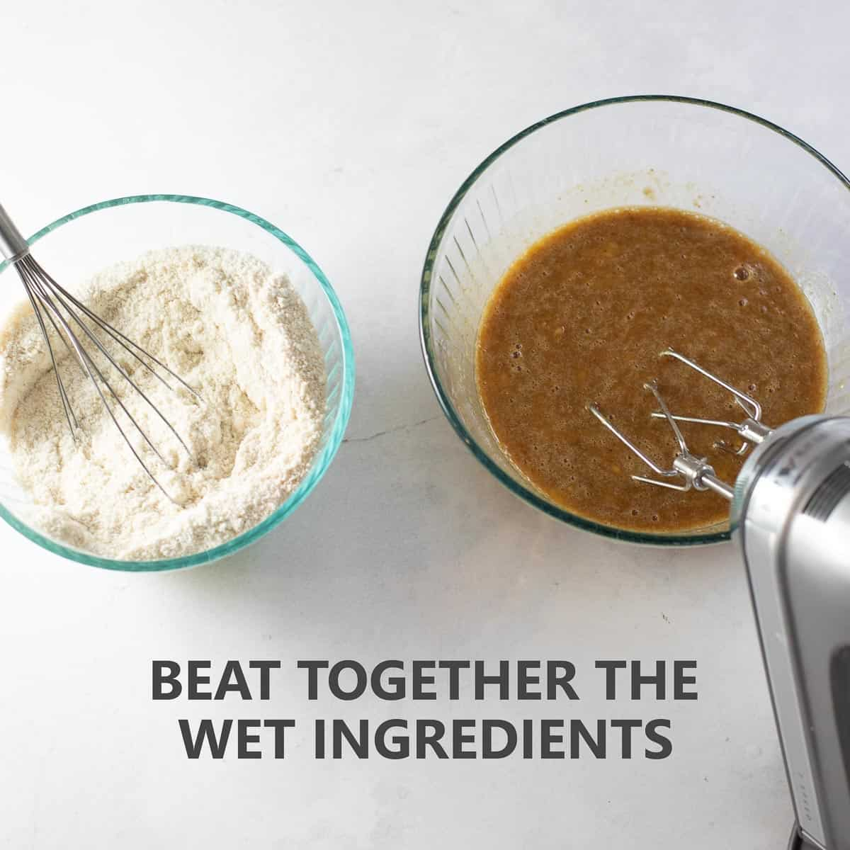 "titled photo of step by step instructions showing how to make banana bread: ""beat together the wet ingredients"""