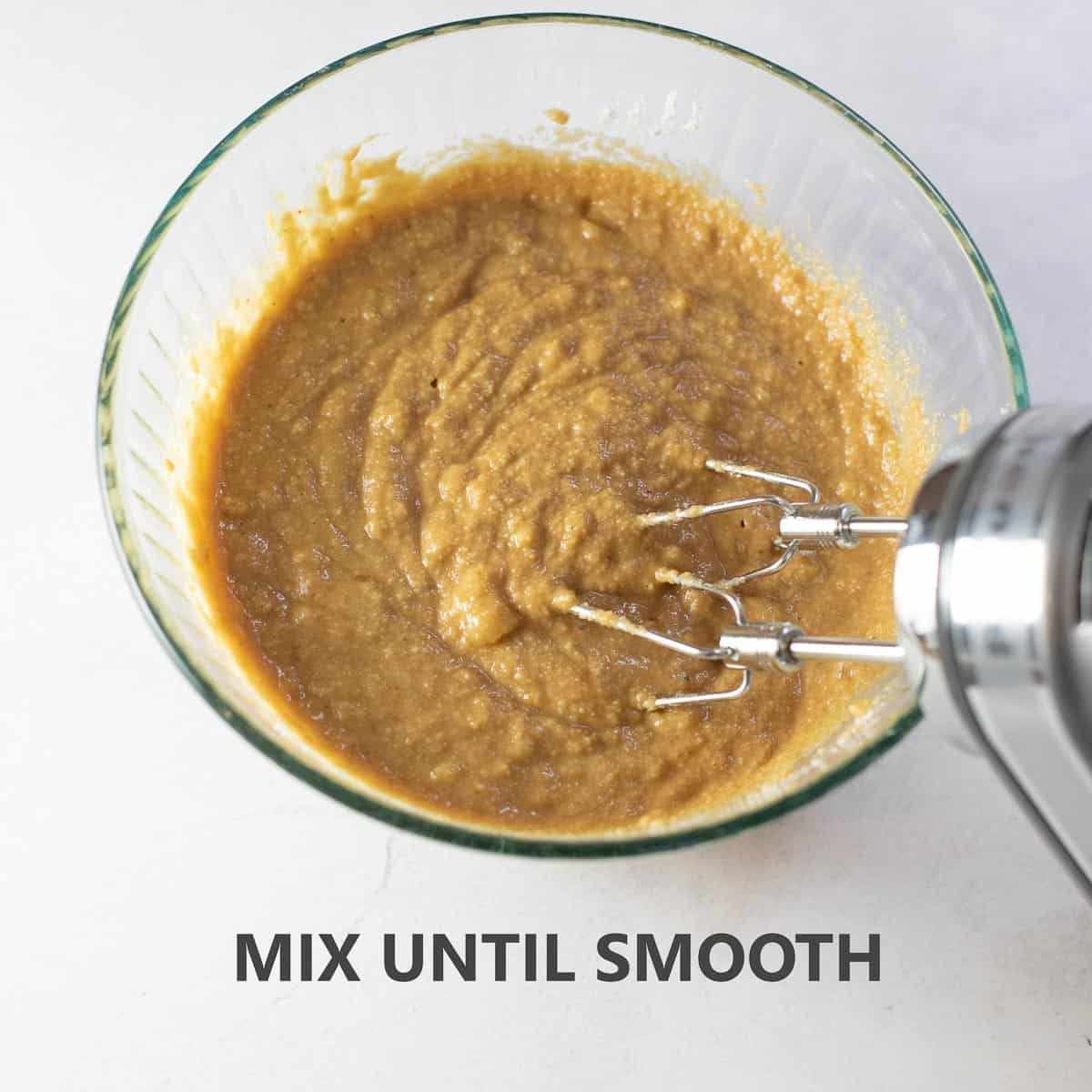 """titled photo of step by step recipe for quick bread: """"mix until smooth"""""""