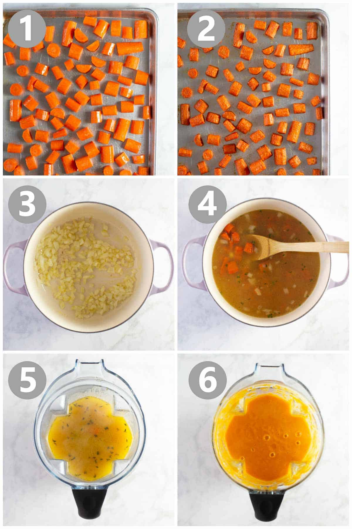 photo collage showing steps to make a carrot soup recipe