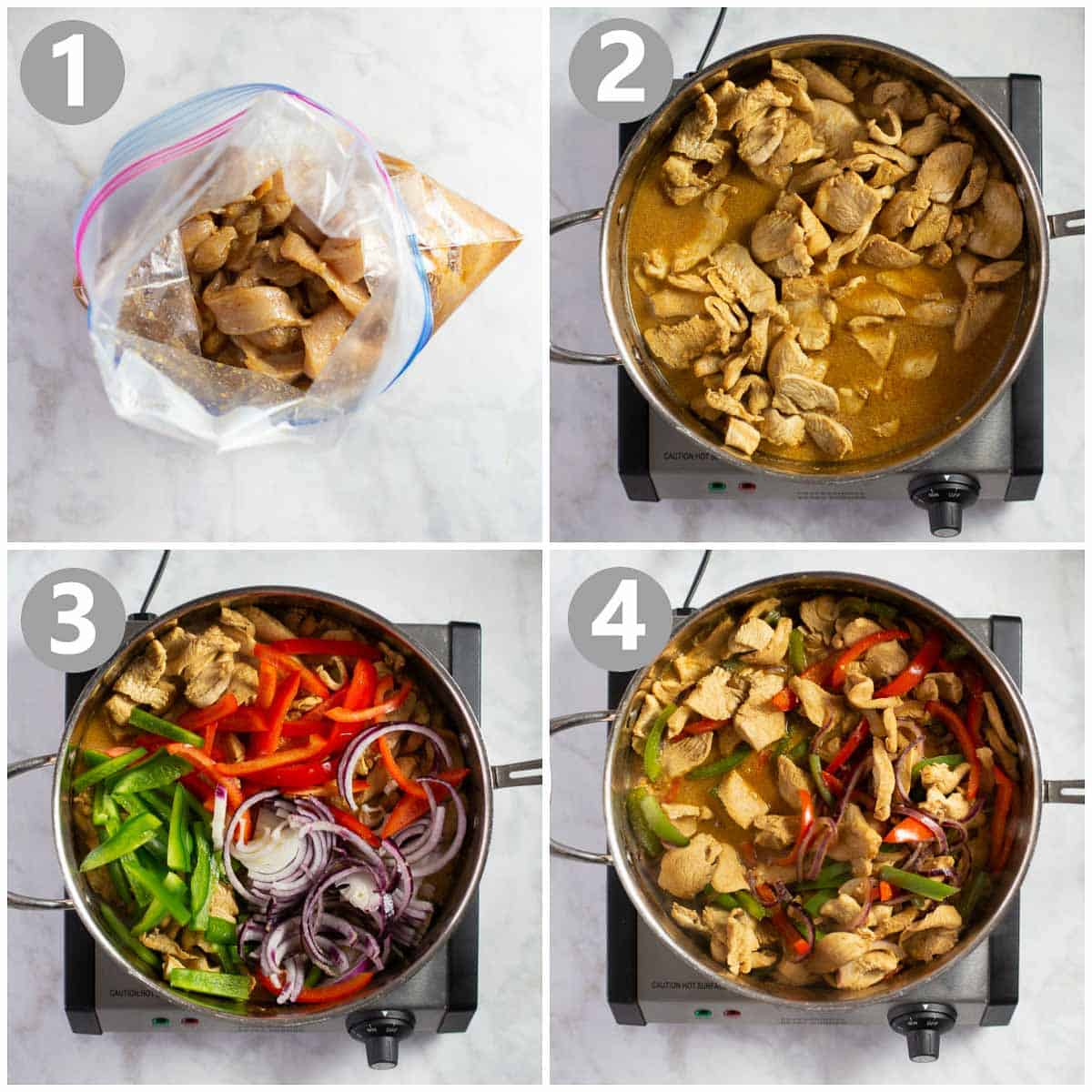 photo collage showing how to make fajitas