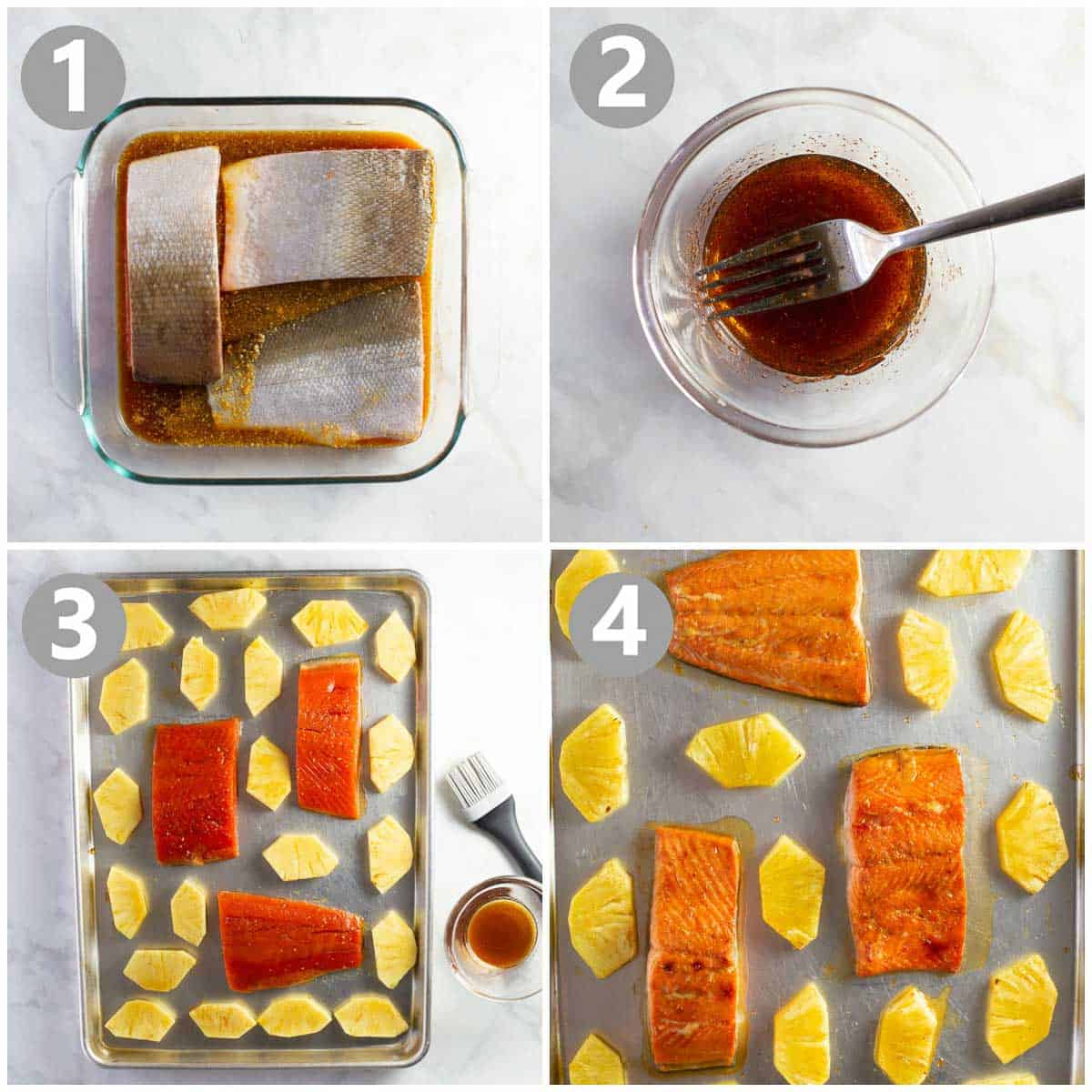 step by step photo collage shows how to make an easy fish recipe