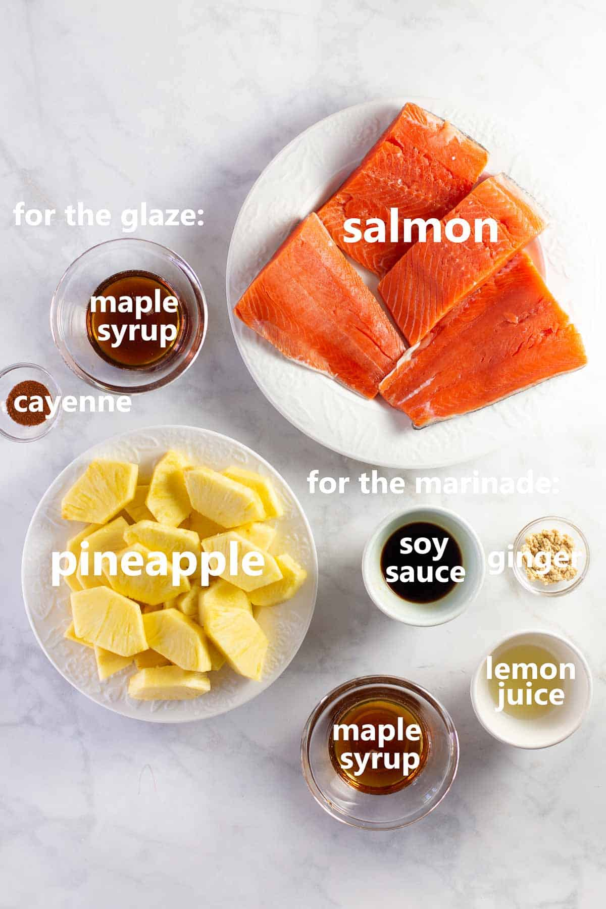 bowls of ingredients needed to make Hawaiian salmon dinner