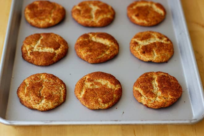 Snickerdoodle cookies on sheet pan