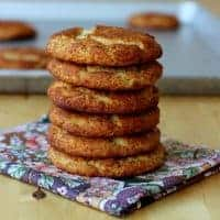 Stack of snickerdoodle cookies on a napkin
