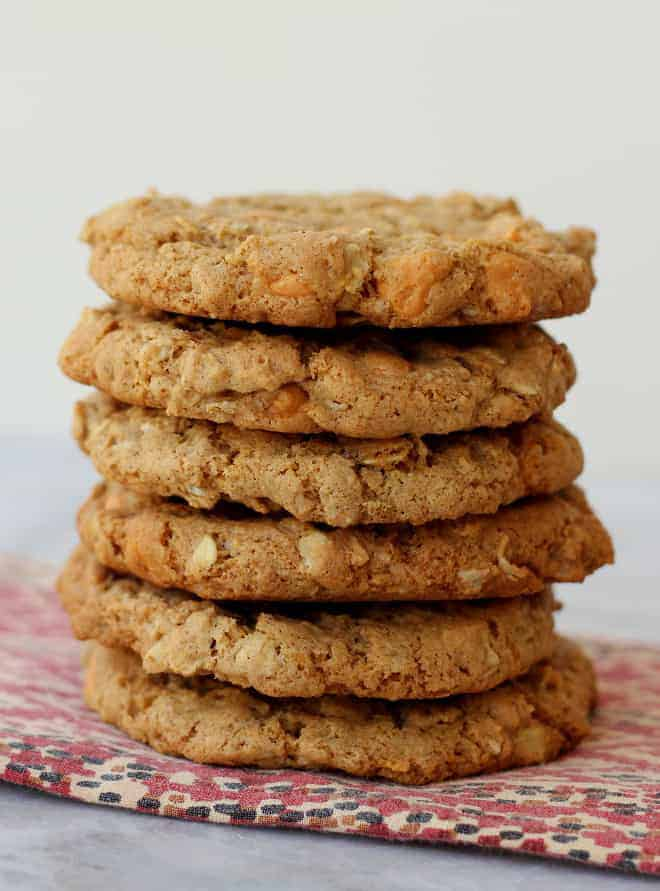 Stack of cookies on a colorful napkin