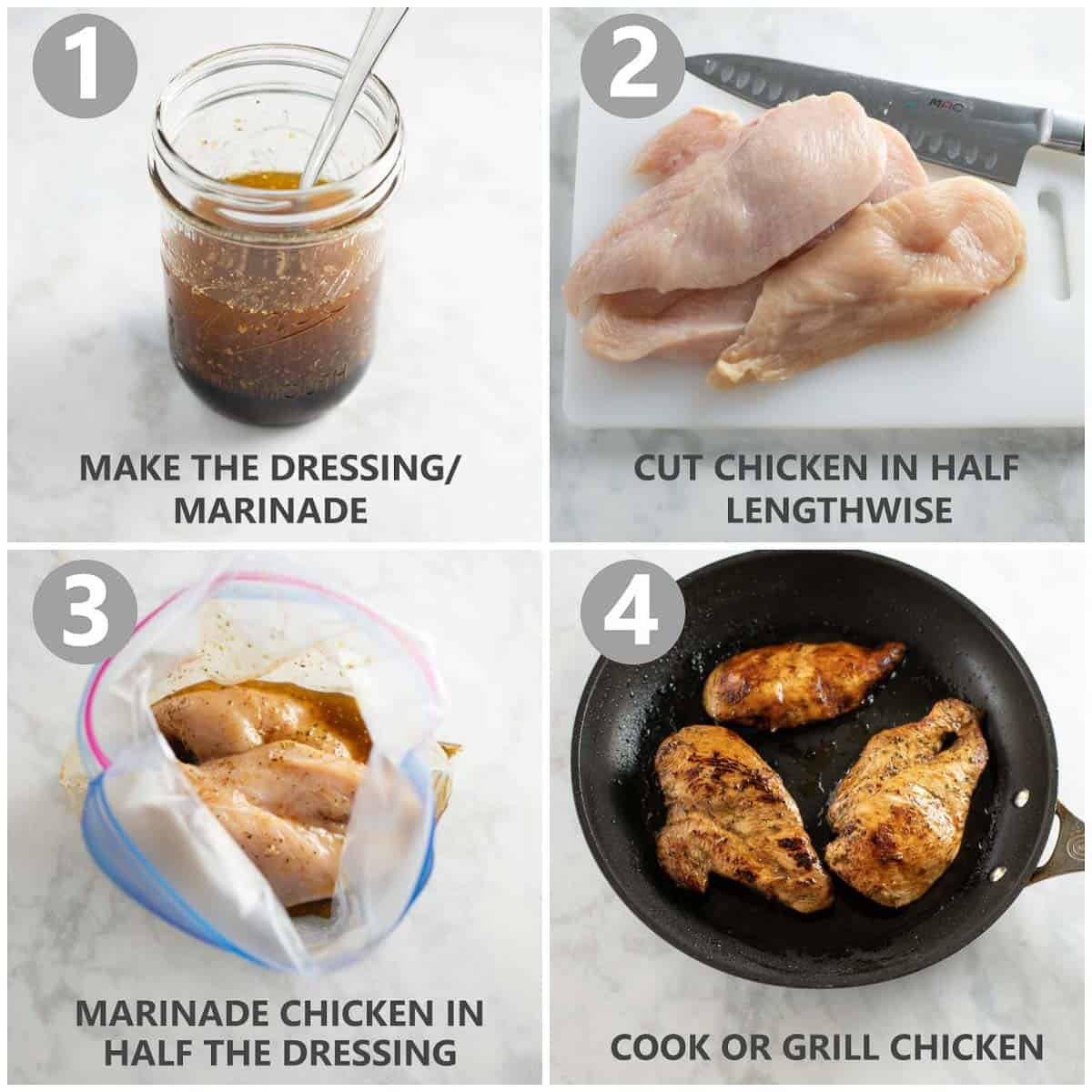 step by step collage shows how to make easy marinade for chicken and use it for grilled chicken breasts