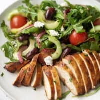 Greek chicken salad with tomatoes cucumbers and chopped chicken