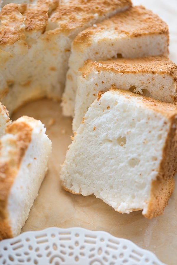 gluten-free angel food cake cut into slices