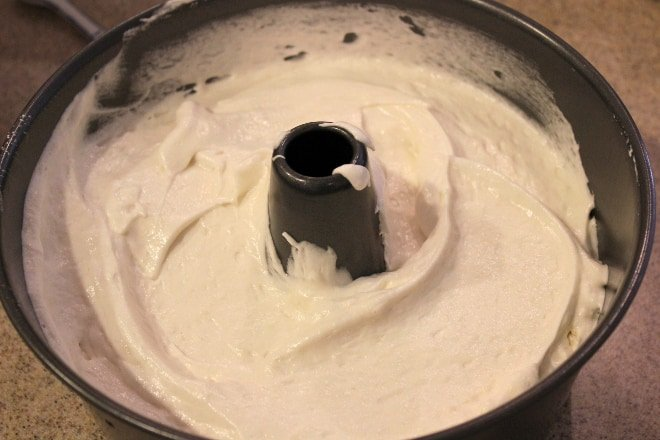 cake in tube pan before baking