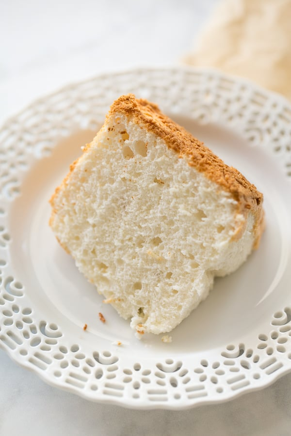 slice of angel food cake on white plate