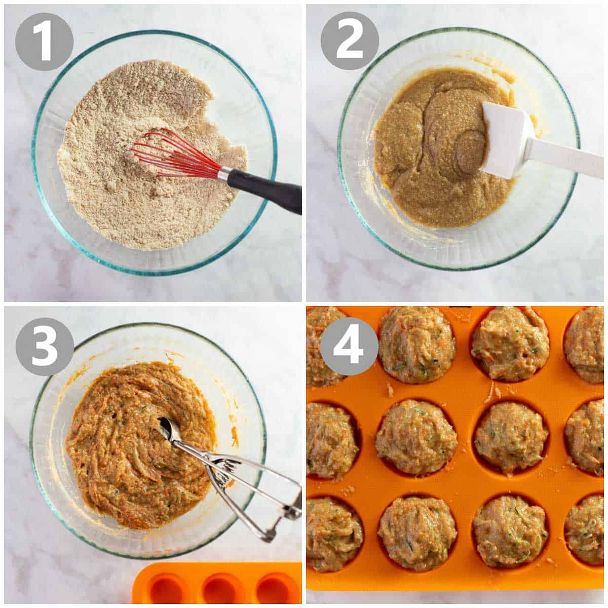4 step-by-step photos show how to make the batter for a muffin recipe