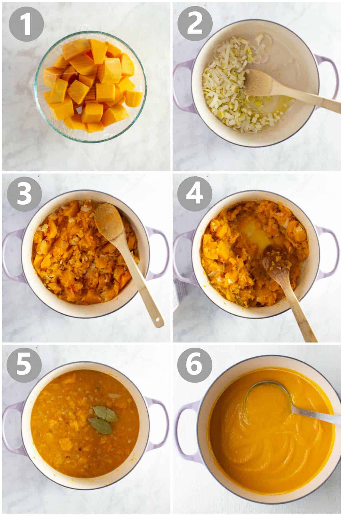 step-by-step instructions of how to make butternut squash soup