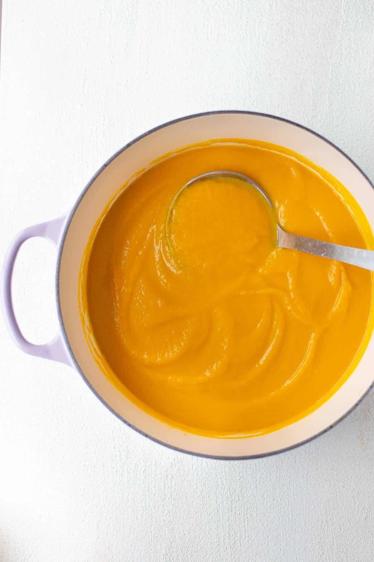 butternut squash soup in pot