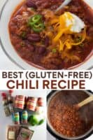 image for pinterest of gluten-free chili ingredients and chili in serving bowls