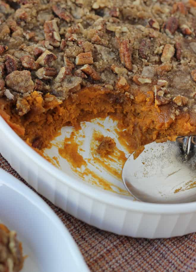 Sweet Potato Casserole with Pecan Praline Topping {Dairy-Free, Gluten ...