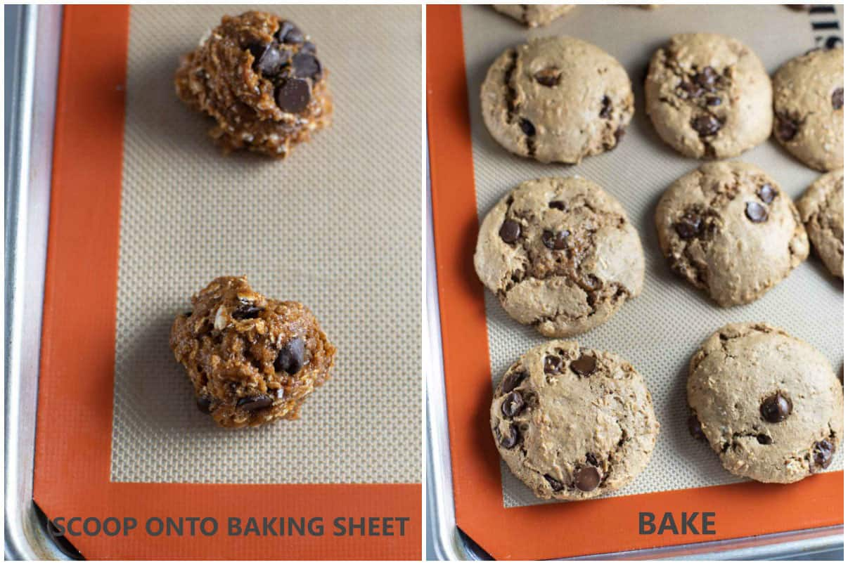 scooped dough on baking sheet and baked cookies