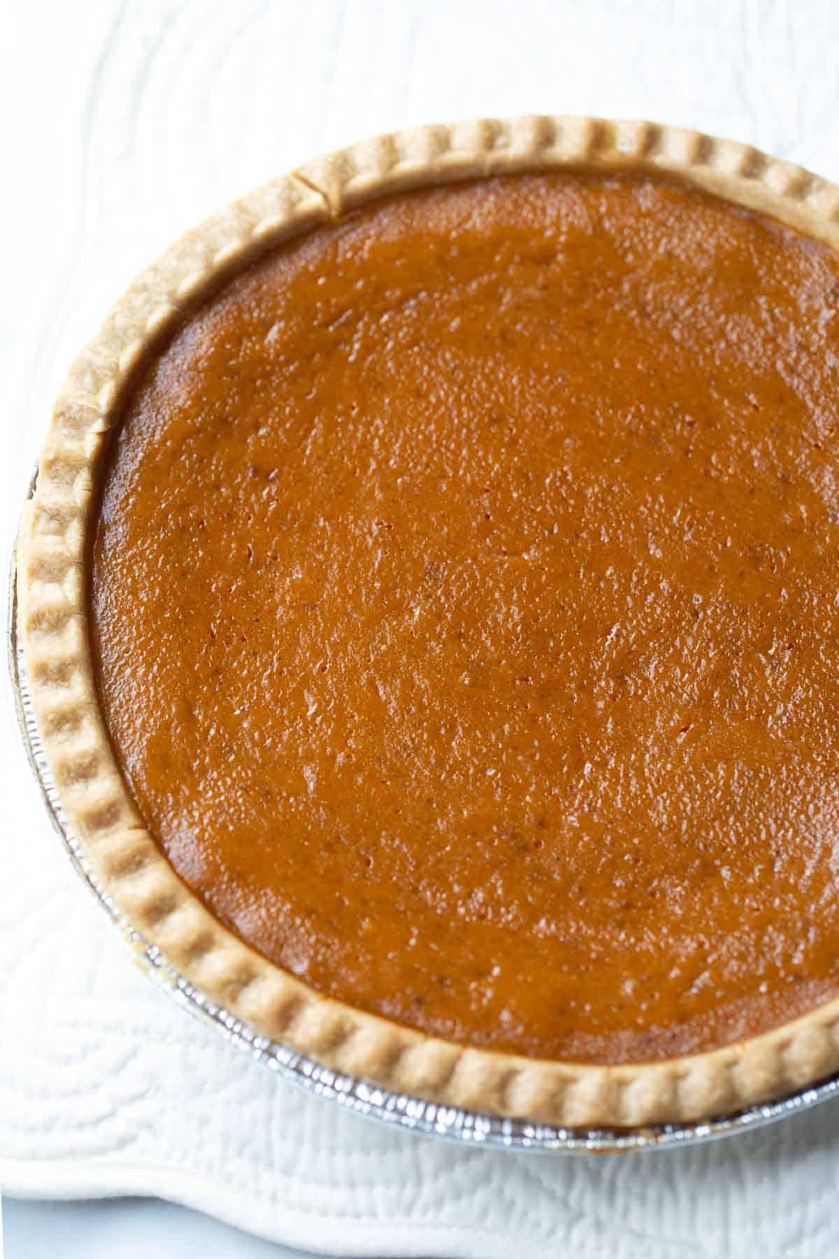 Aerial view of a round pumpkin pie