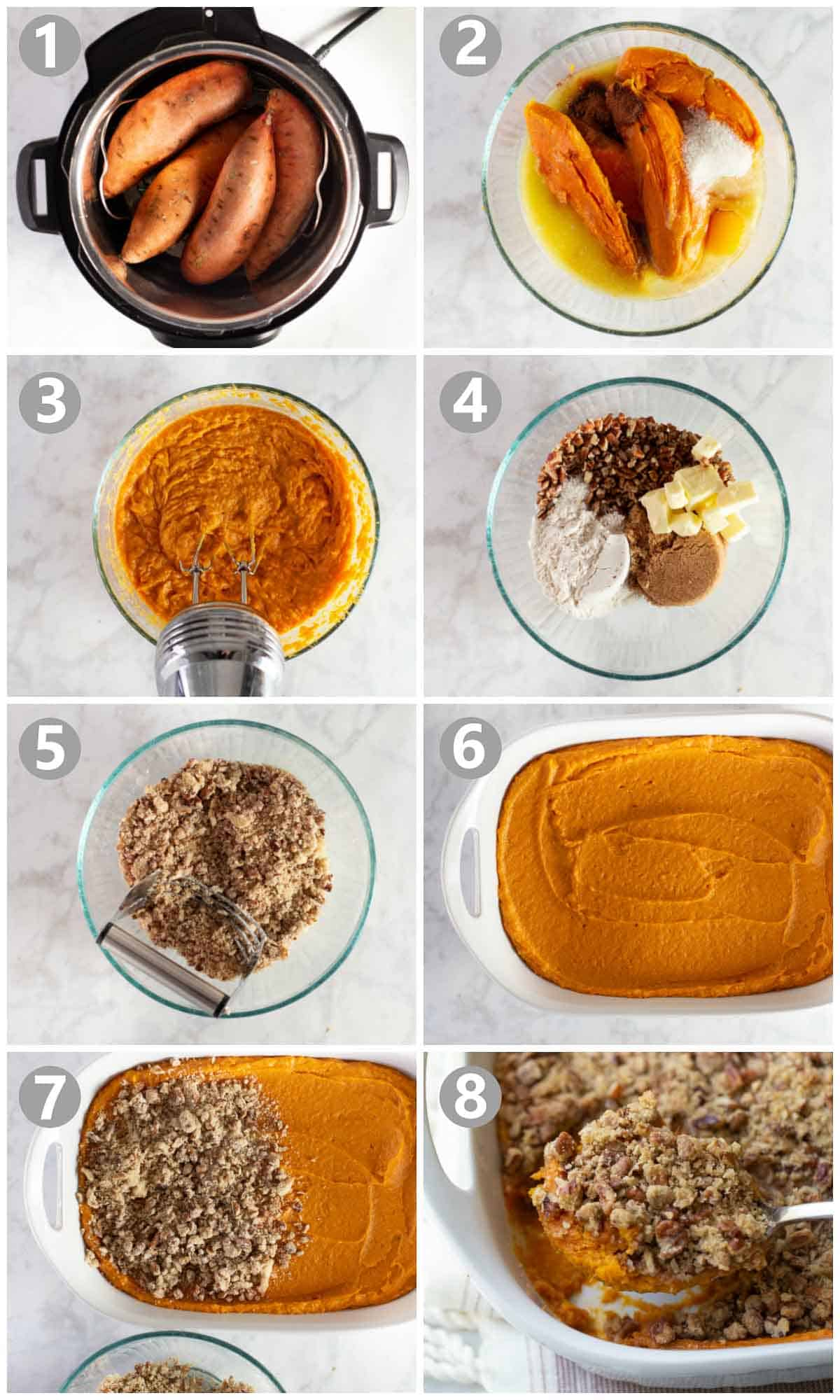 step by step photos of how to make sweet potato casserole