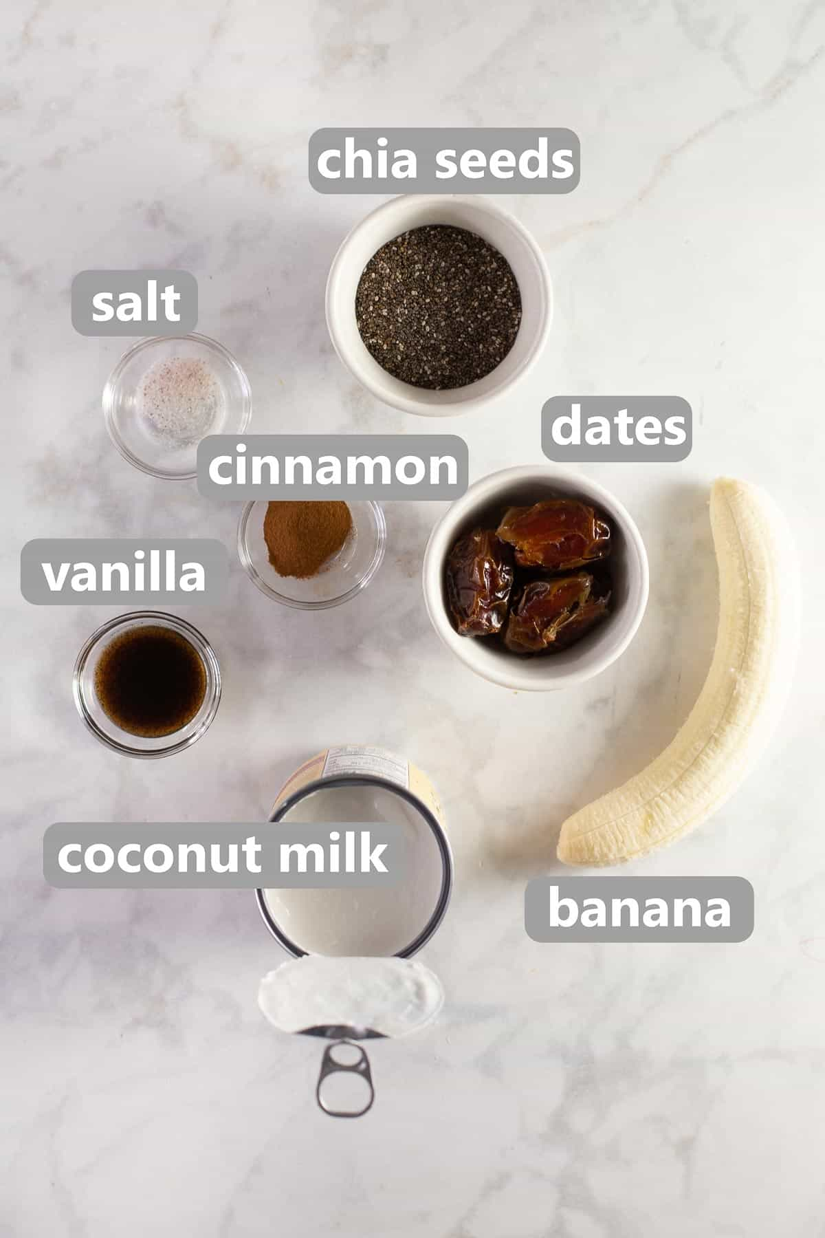 ingredients on counter top to make healthy banana pudding