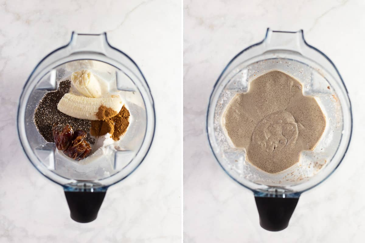 overhead image: making a chia pudding recipe in a blender