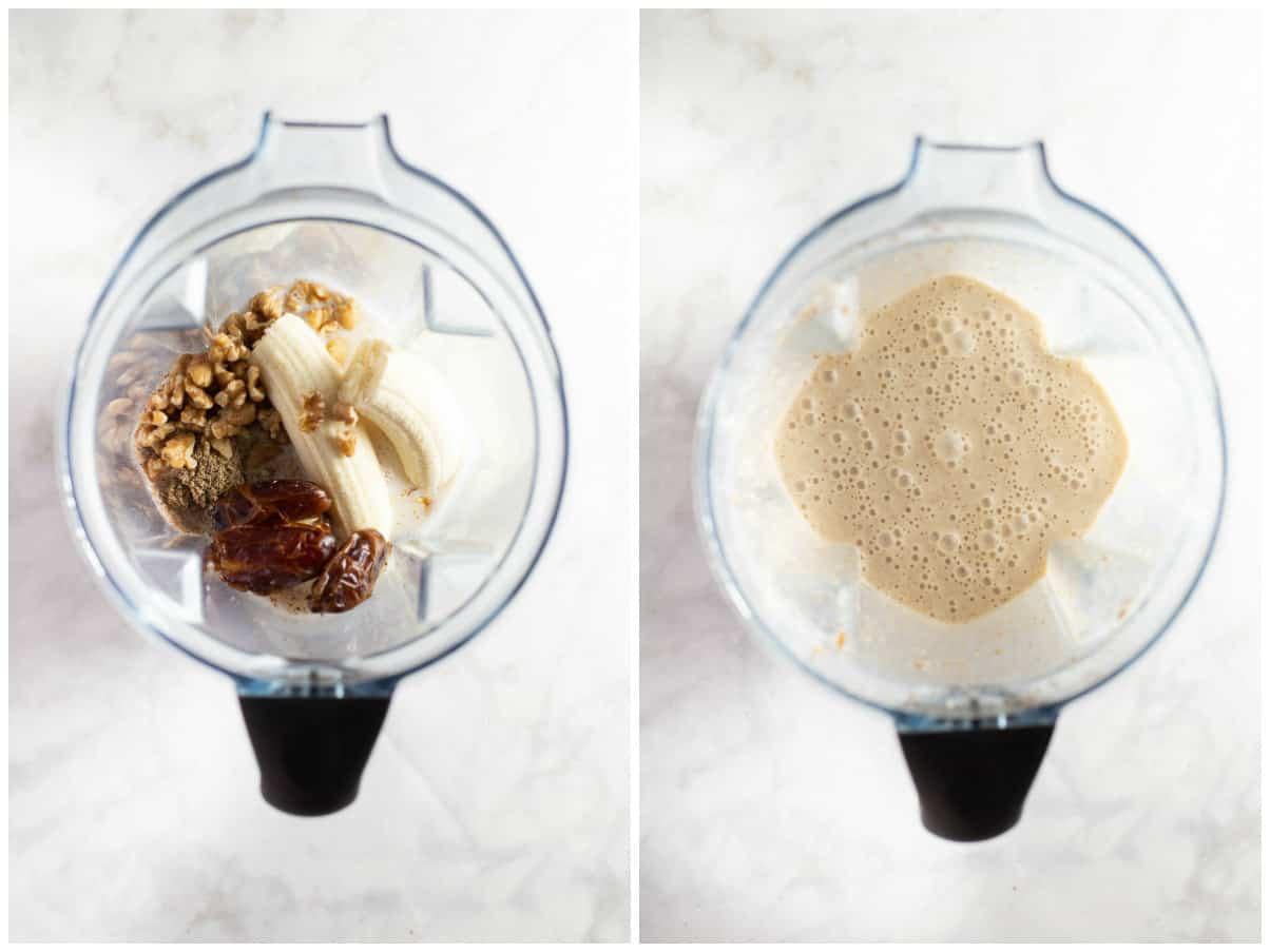 ingredients in blender to make a date smoothie breakfast drink