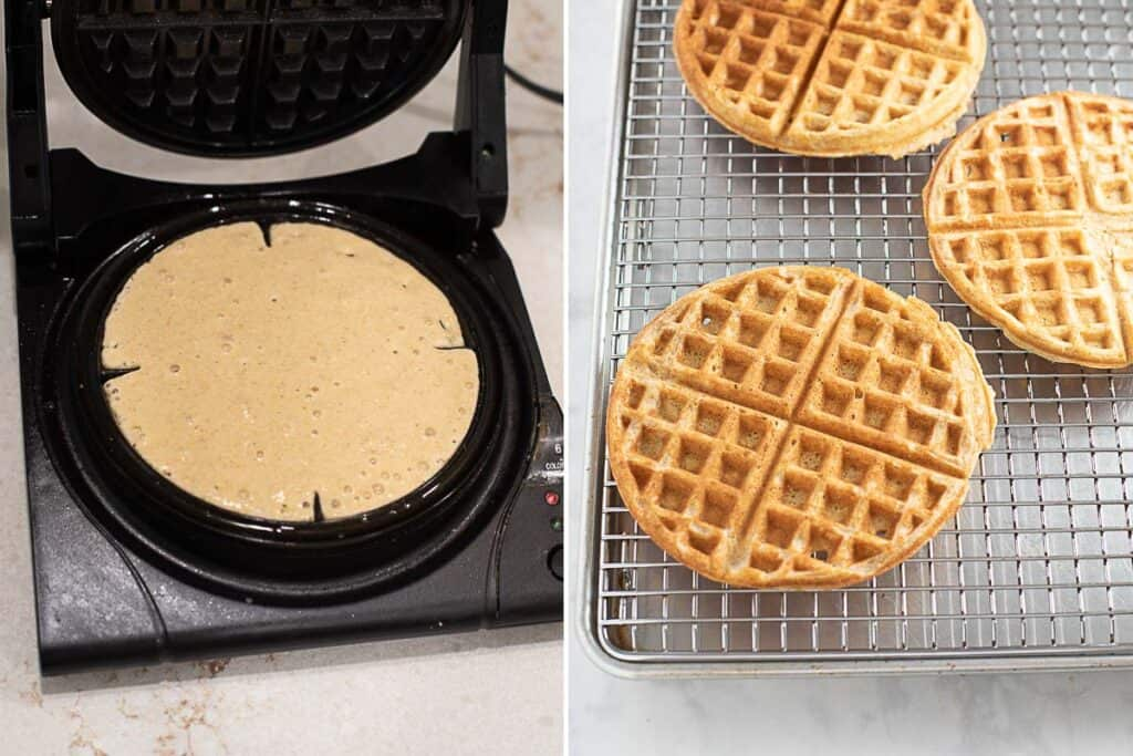 how to make gluten free waffles with waffle iron and cooked waffles on cooling rack