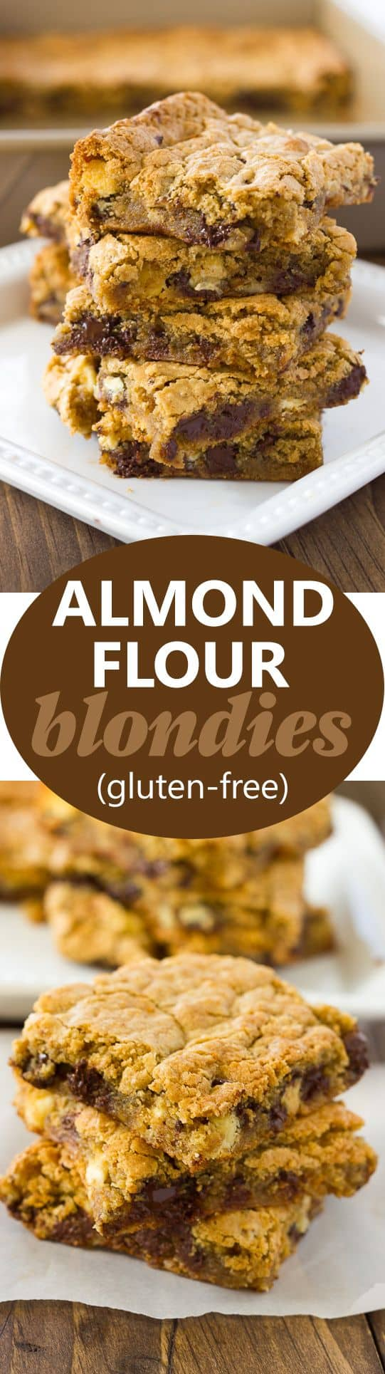 image for pinterest of almond flour blondies stacked on white plate