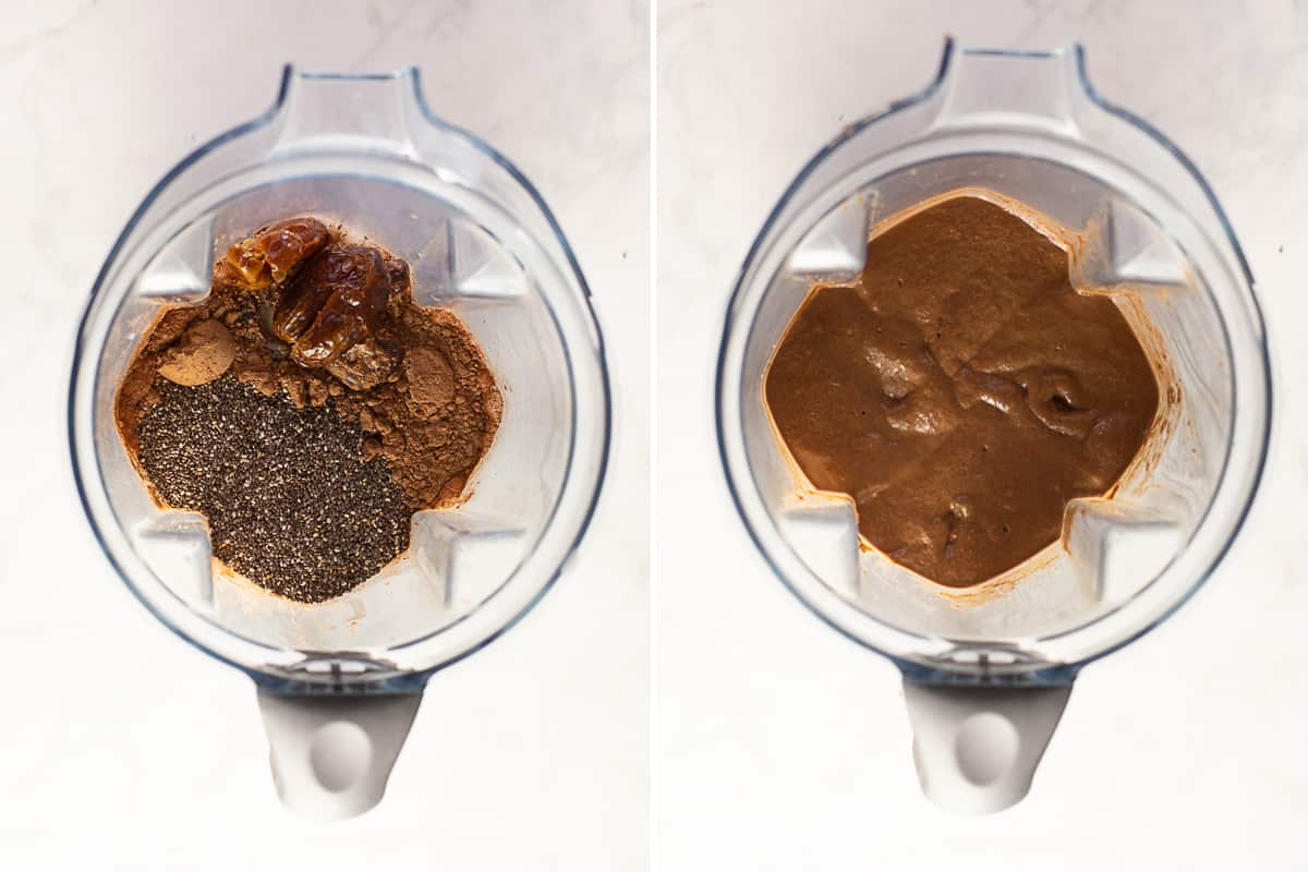ingredients for a chocolate chia seed pudding recipe in a blender