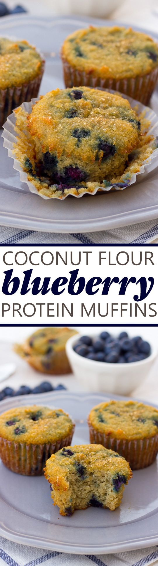 image for pinterest of coconut flour blueberry muffins