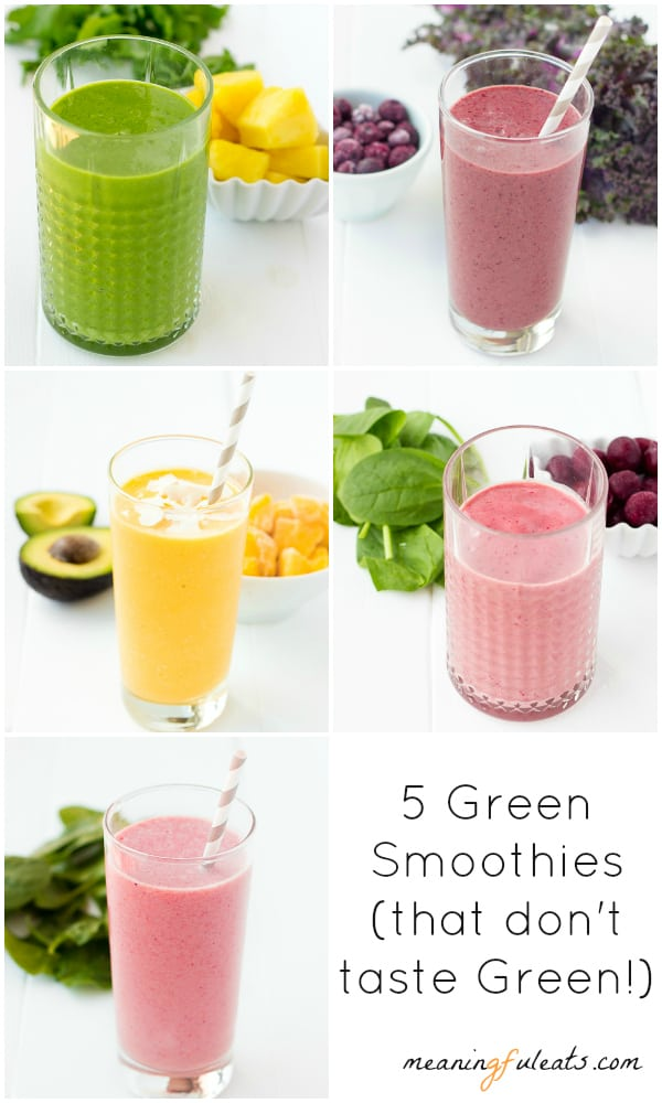 Collage of five smoothies with a text that says five green smoothies that don't taste green