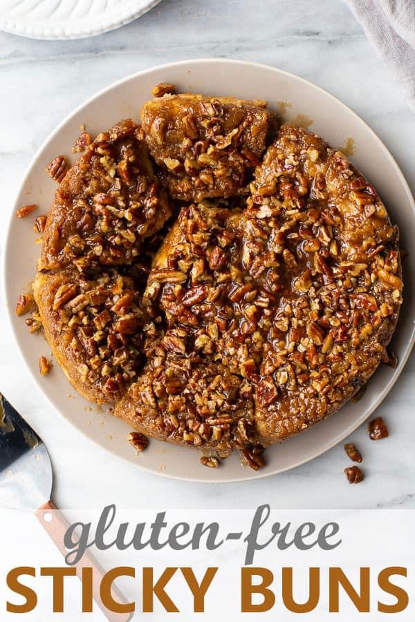 shot of gluten-free sticky buns on plate