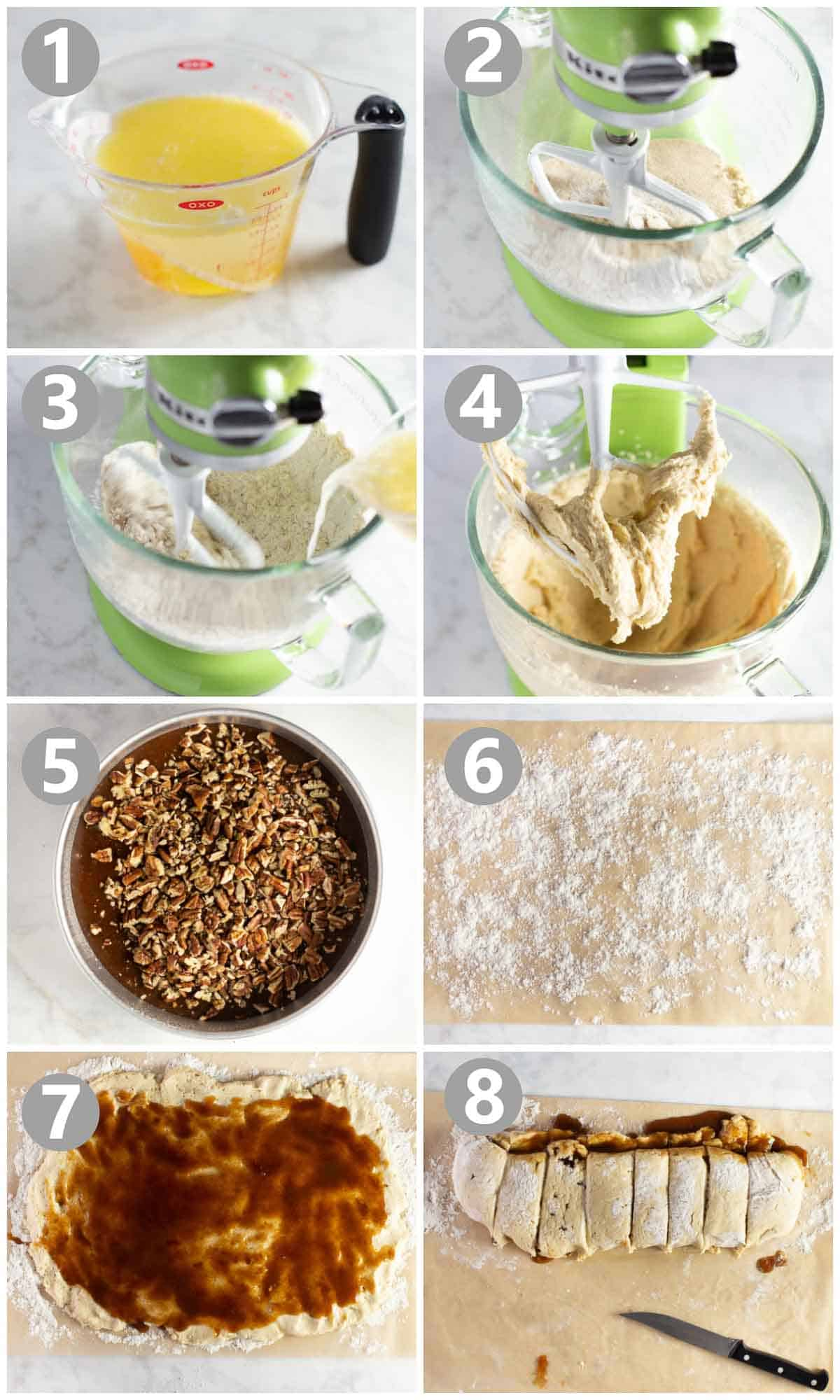 step by step pictures of how to make gluten-free sticky buns