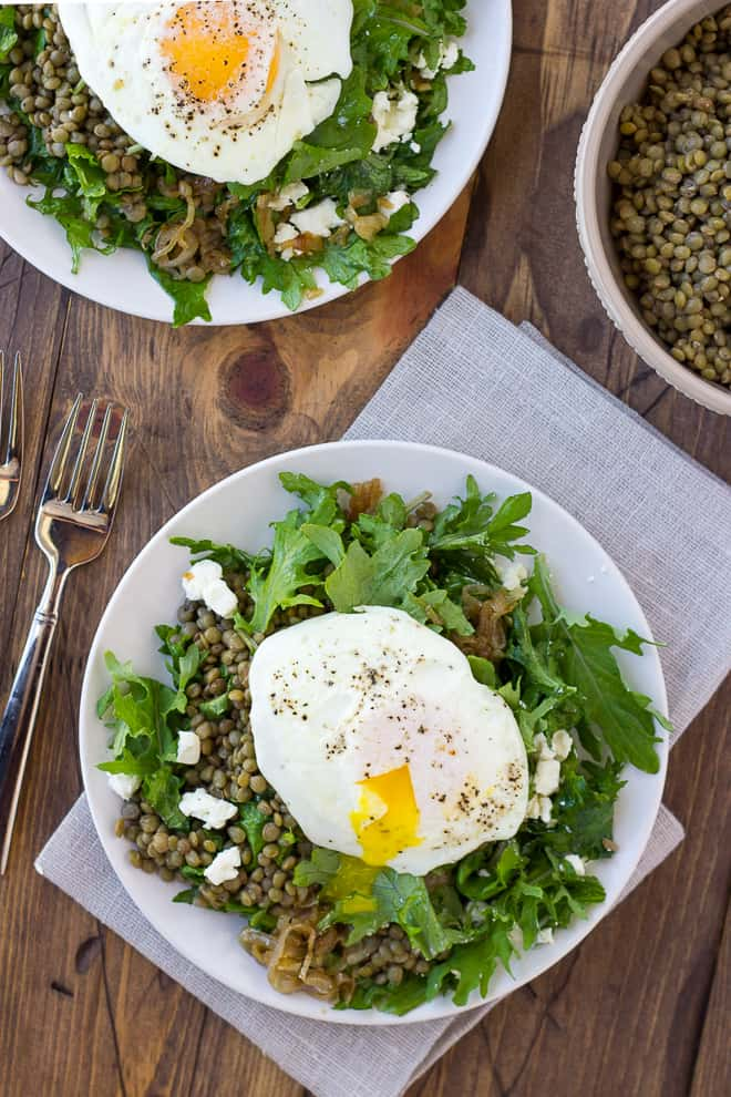 French Lentil Salad with Goat Cheese and Caramelized Shallots! {Gluten ...