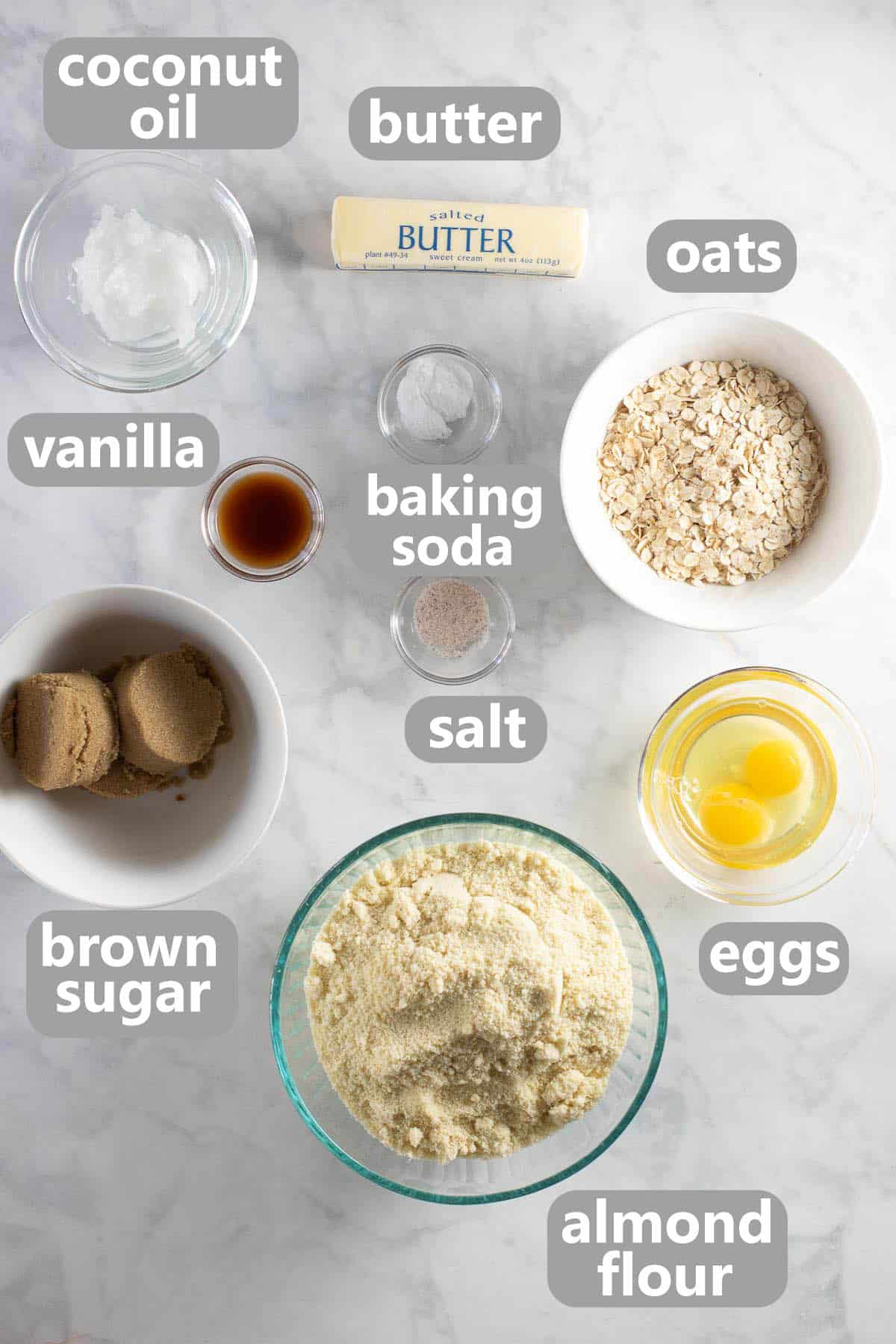 overhead shot of ingredients set out for almond flour cookies
